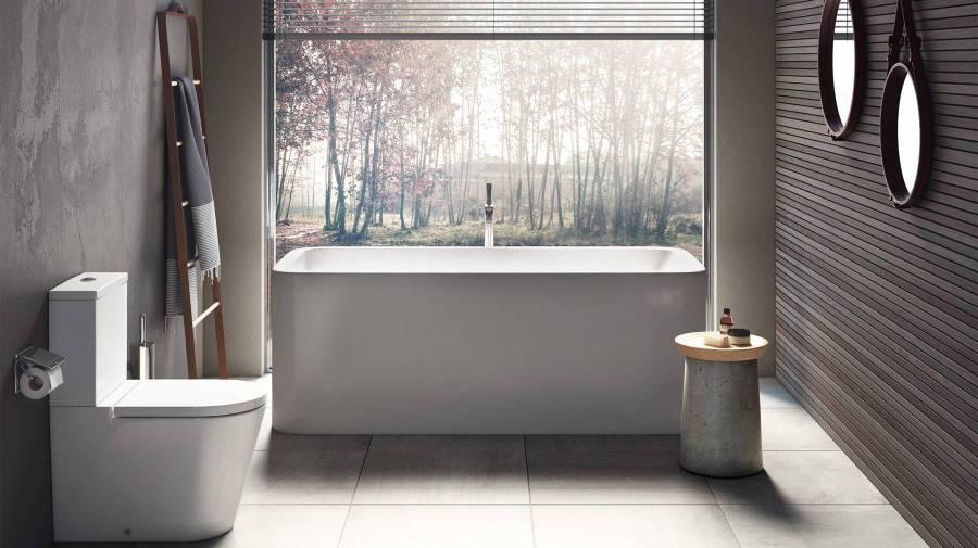 Tendência minimalista em banheiro com produtos da Roca