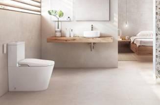 Banheiro minimalista com produtos da Roca