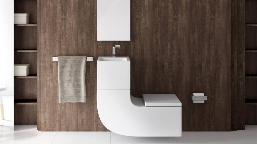 W+W da Roca com lavatório e bacia numa mesma peça
